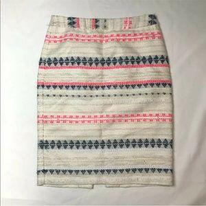 Trina Turk Tweed Pencil Skirt sz 2 cream pink blue
